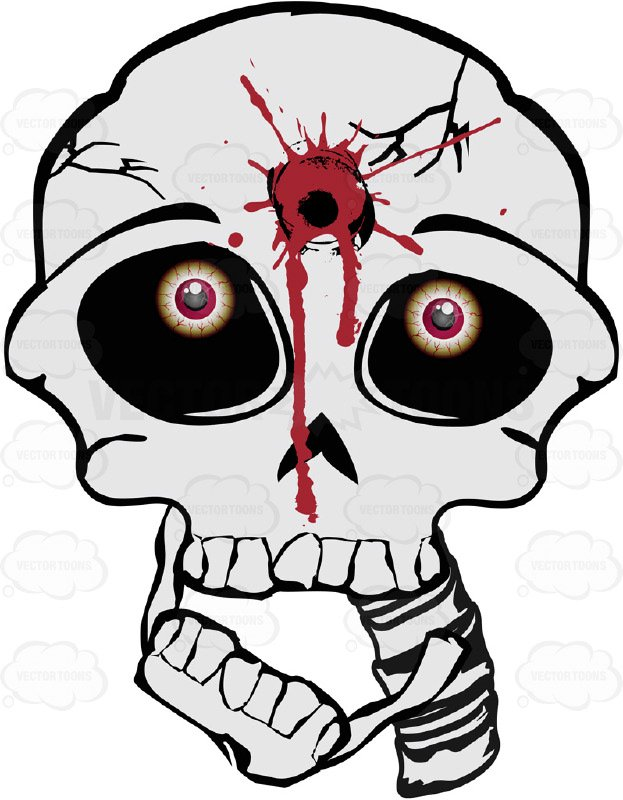 Cartoon Skull With Gunshot ClipartLook.com