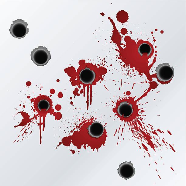 Gunshot blood splatter background vector art illustration