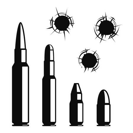 Vector bullet holes set. Violence and crime, gunshot and military, hit and  ammunition
