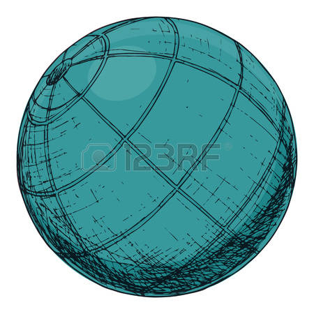 Exercise ball, cartoon illustration of gym equipment for home exercise.  Vector Vector