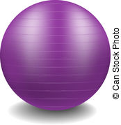 Gym ball in purple design with shadow on white background
