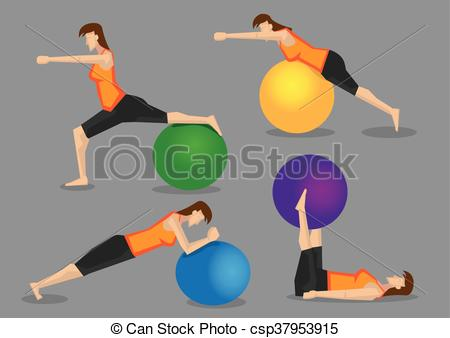 Woman Fitness Exercise Workout with Gym Ball - csp37953915