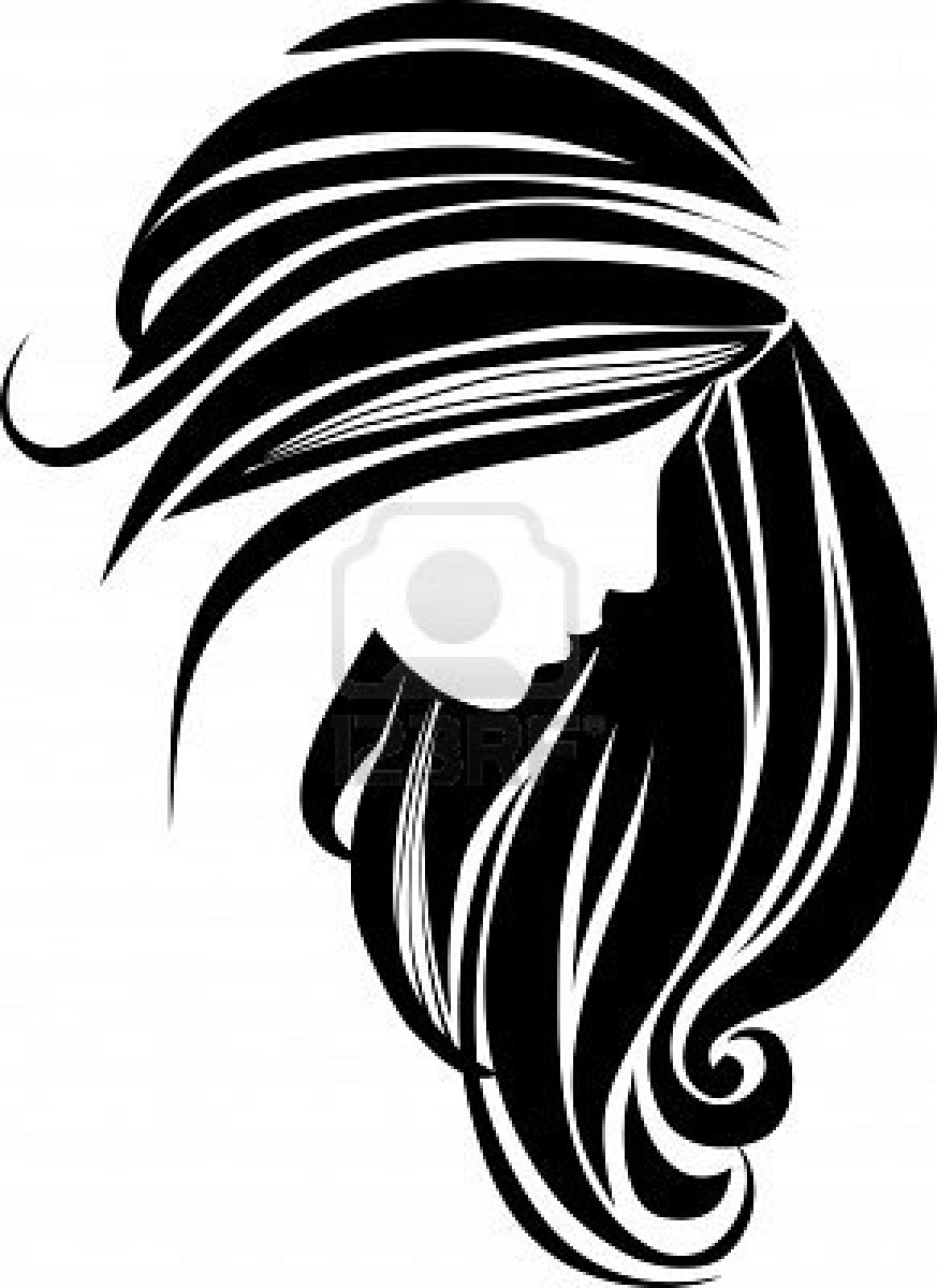 hair clipart black and white