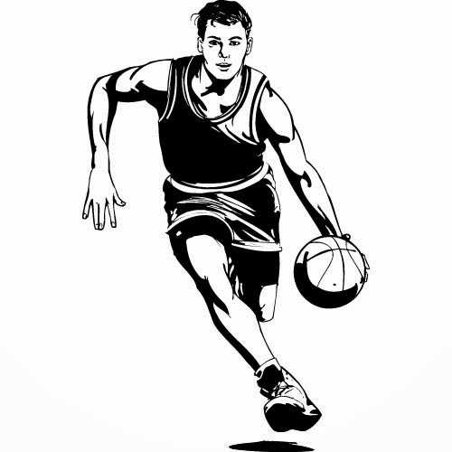 Half Basketball Clipart Black And White Images Pictures - Becuo