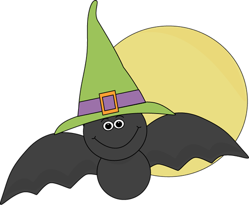Halloween Bat and Full Moon