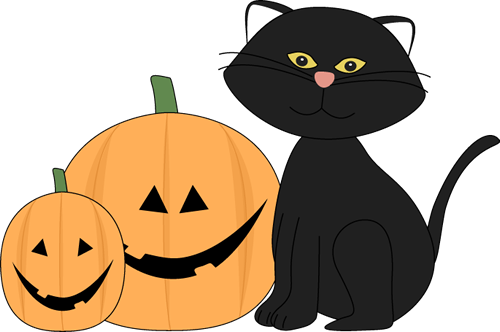 Halloween Black Cat and Jack O Lantern