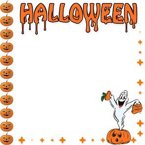 halloween border with ghost - Halloween Clip Art Borders