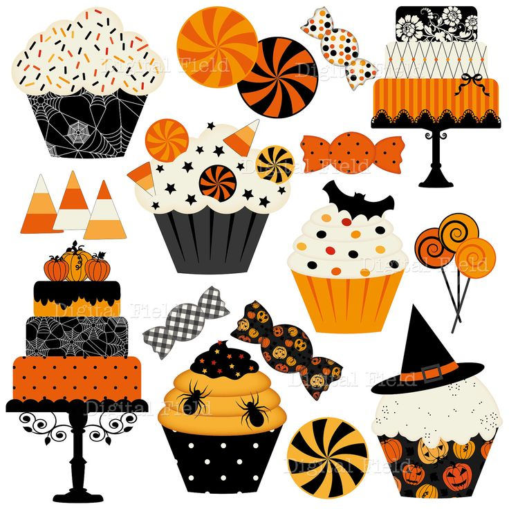 Halloween Cakes, Cupcakes and Candies Clip Art Set - Halloween digital clipart - Personal and