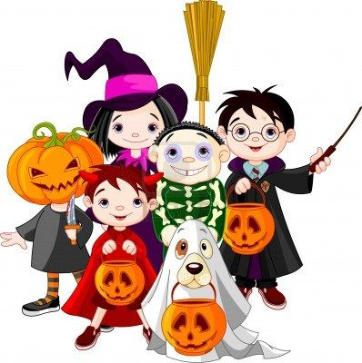 Halloween children trick or treating in Halloween costume Stock Photo - 10896626