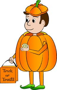 Halloween Costume Clipart Image: A cartoon kid in a pumpkin costume holding a trick or