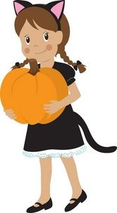 Halloween Costume Clipart Image: Cute little girl wearing a kitty cat halloween costume and holding
