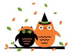 Halloween Costumed Owls, Clip .-Halloween Costumed Owls, clip .-8