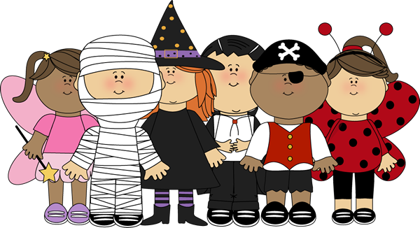 Halloween Kids Clip Art Image Group Of Kids Dressed Up For Halloween