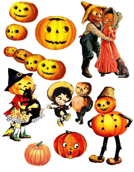 Halloween Pumpkins Jacko Lantern Vintage-Halloween Pumpkins Jacko Lantern Vintage Clip Art Digital Download-6