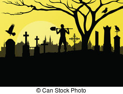 ... Halloween spooky graveyard, cemetery vintage background with.