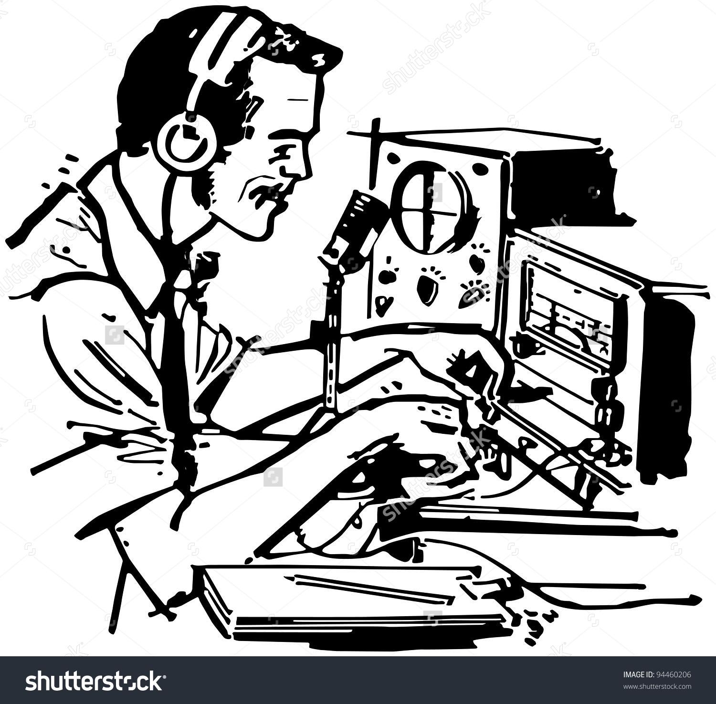 Ham Radio Operator - Retro Clipart Illus-Ham Radio Operator - Retro Clipart Illustration-13