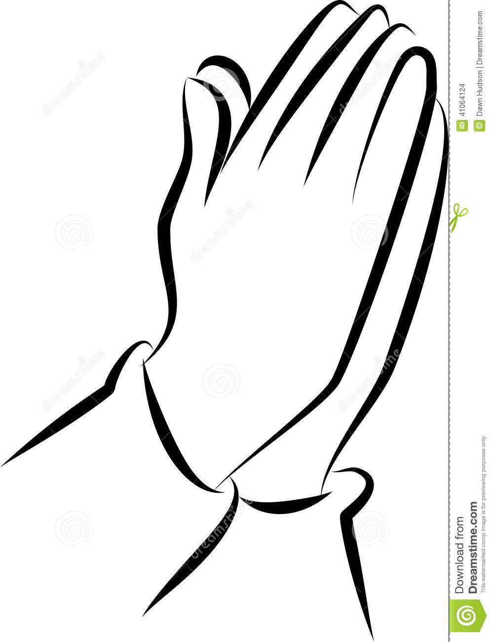Hand Clipart Black And White  - Clipart Praying Hands