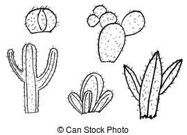 ... Hand Draw Sketch Of Cactus At White-... hand draw sketch of cactus at white-14