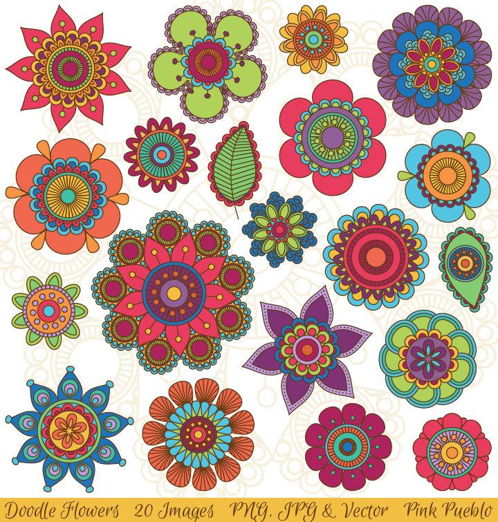 Hand Drawn Flowers Clipart Clip Art, Doodle Mandala Clip Art Clipart Vectors - Commercial and Personal Use