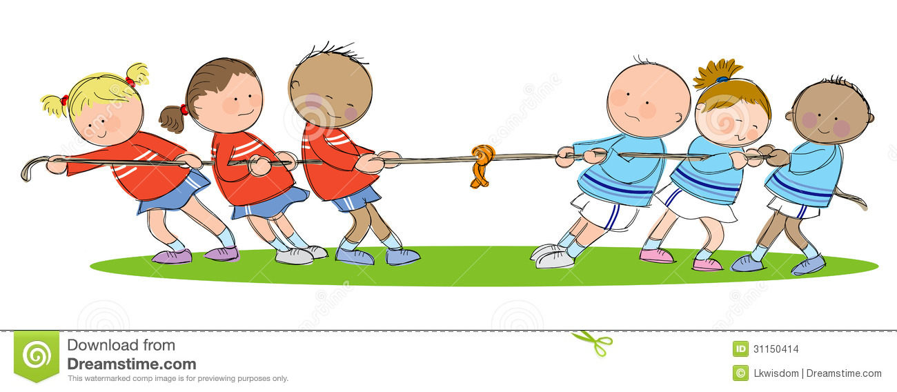 Hand Drawn Picture Of Tug Of War Match Illustrated In A Loose Style