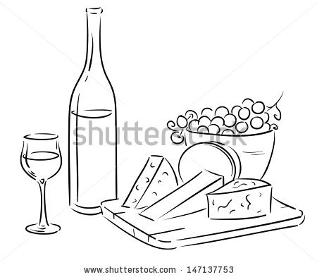 Hand drawn, vector wine and cheese serving