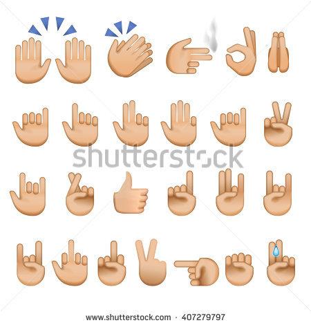 Set Hands Icons Symbols Emoji Different Stock Vektörü 407279797 -  Shutterstock