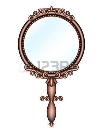 hand mirror: Antique retro hand mirror isolated on white background Vector illustration