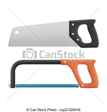 hand saw isolated for cut to wood and metal is cute cartoon of p -  csp21324416