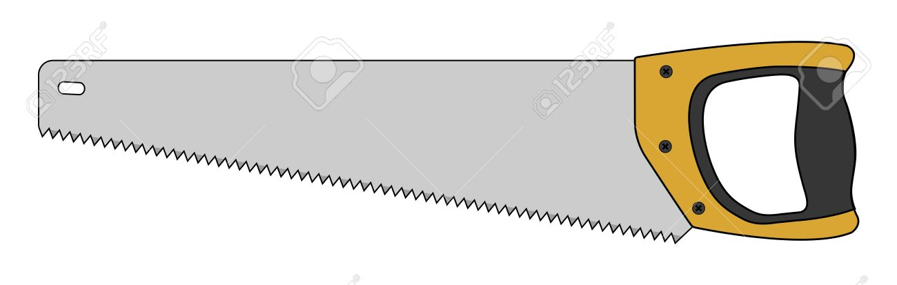 Hand saw woodworking instrument icon. Vector clip art color illustration  isolated on white Stok Fotoğraf