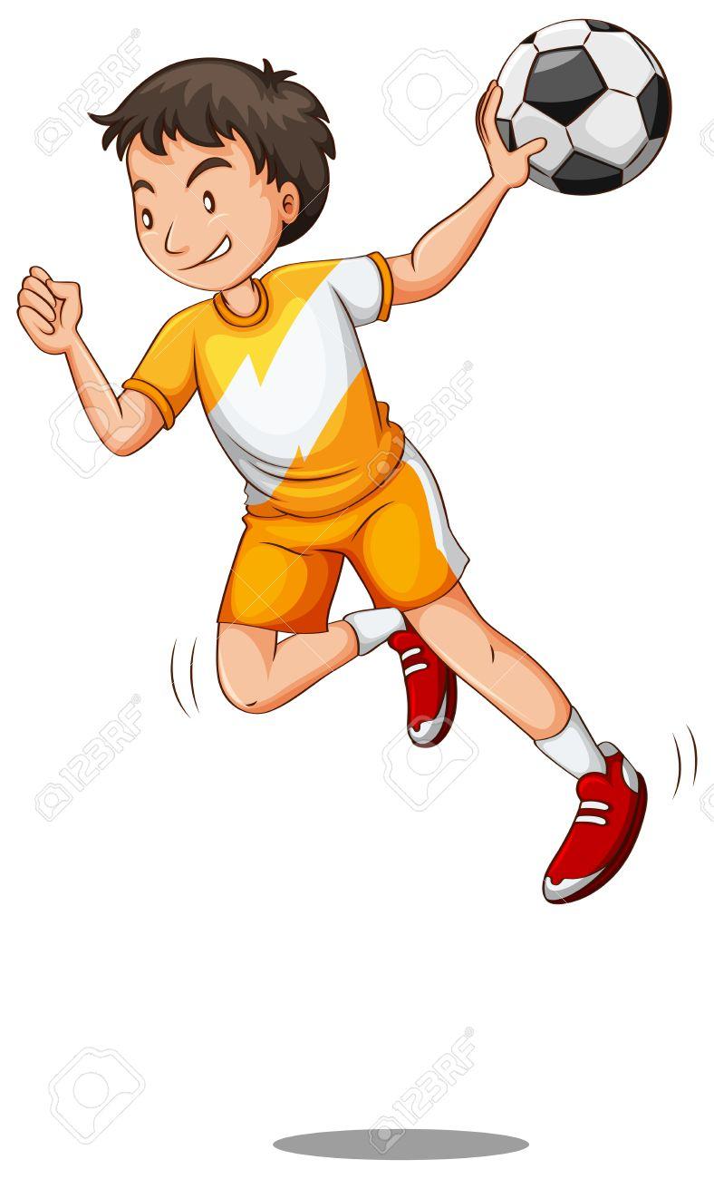 Man With Ball Playing Handball Illustrat-Man with ball playing handball illustration Stock Vector - 58404641-7