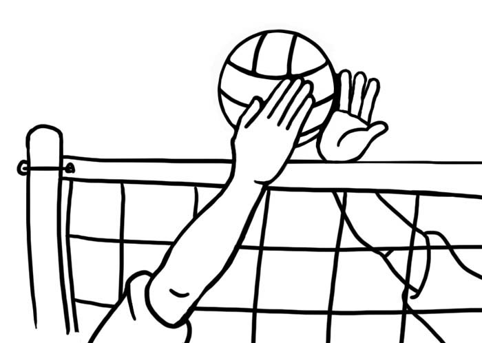 hands blocking at volleyball net in blac-hands blocking at volleyball net in black and white-14