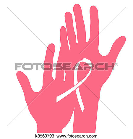 Hands Holding Breast Cancer Ribbon, Vect-Hands holding breast cancer ribbon, vector illustration.-13