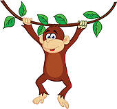 hanging monkey clipart black and white