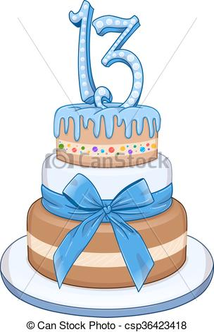 Hanukkah Shalom Jewish Background Clipartby Irisangel13/1,953; Blue Bar Mitzvah Cake For 13th Birthday - Vector.