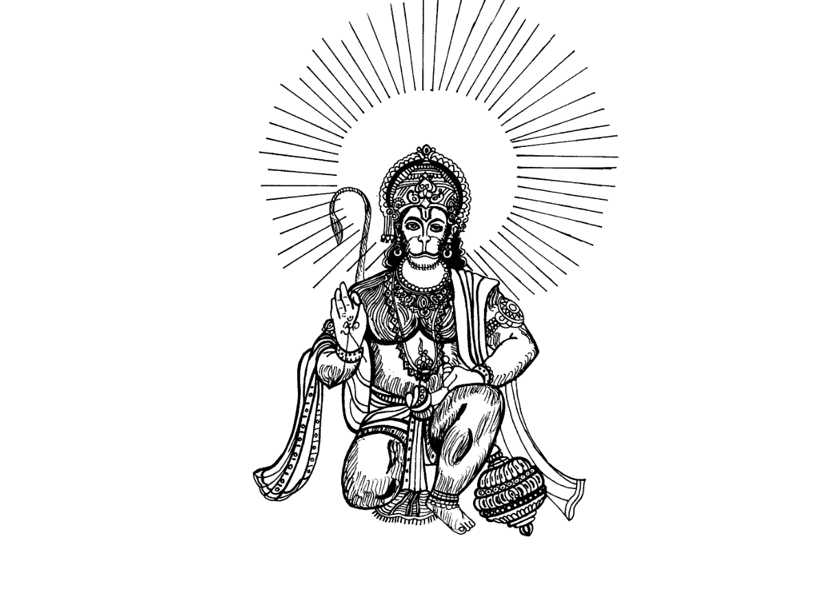 by vector tradition lord hanuman coloring drawing free kb x with hanuman  coloring pages