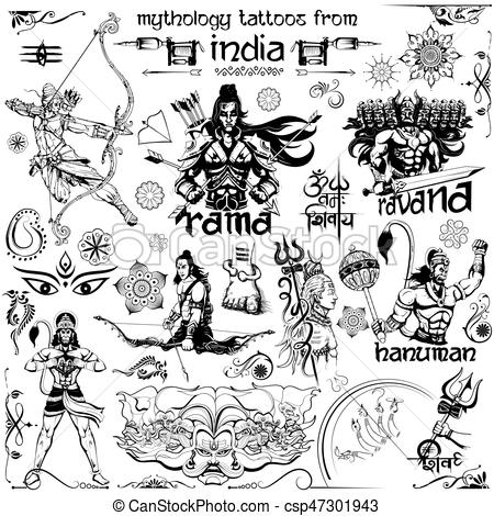 illustration of Tattoo art design of Lord Rama, Ravana and Hanuman  collection