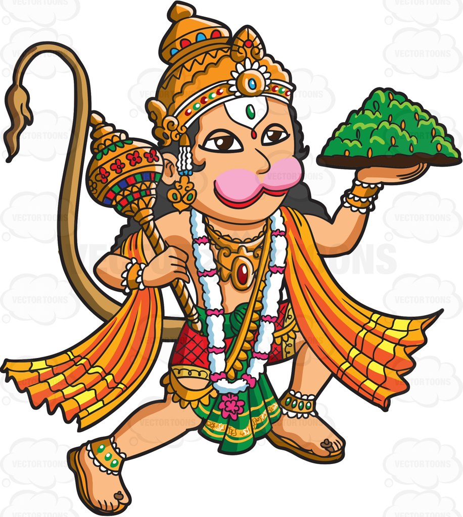The Hindu God Hanuman Cartoon Clipart - Vector Toons