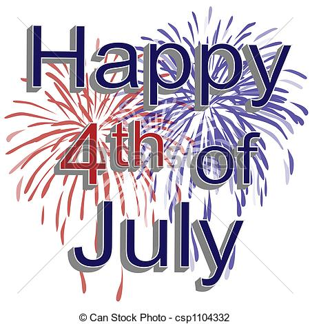 Happy 4th of July Fireworks - Graphic il-Happy 4th of July Fireworks - Graphic illustration of red,.-0