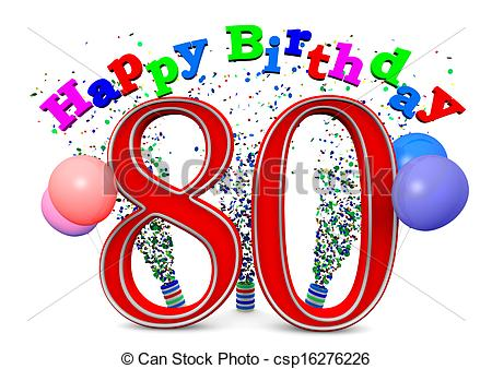 Happy 80 Birthday Clipart