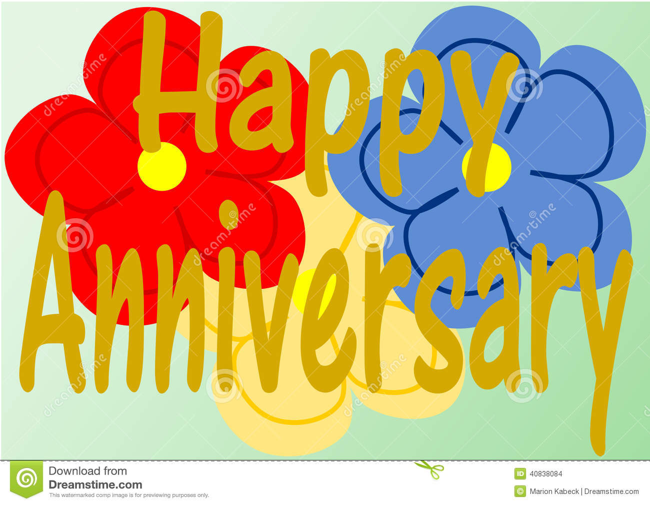 Happy Anniversary On Three Large Flowers-Happy Anniversary On Three Large Flowers Stock Illustration Image-17
