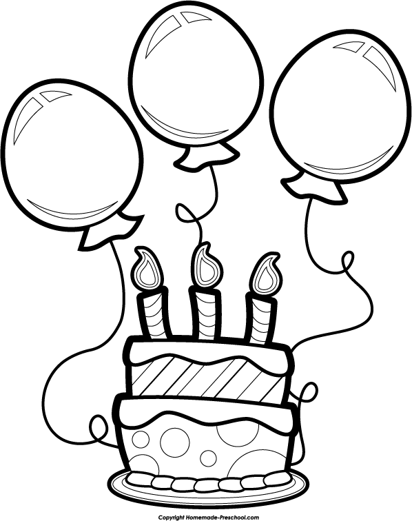 Happy Birthday Balloon Clipar - Black And White Birthday Clip Art