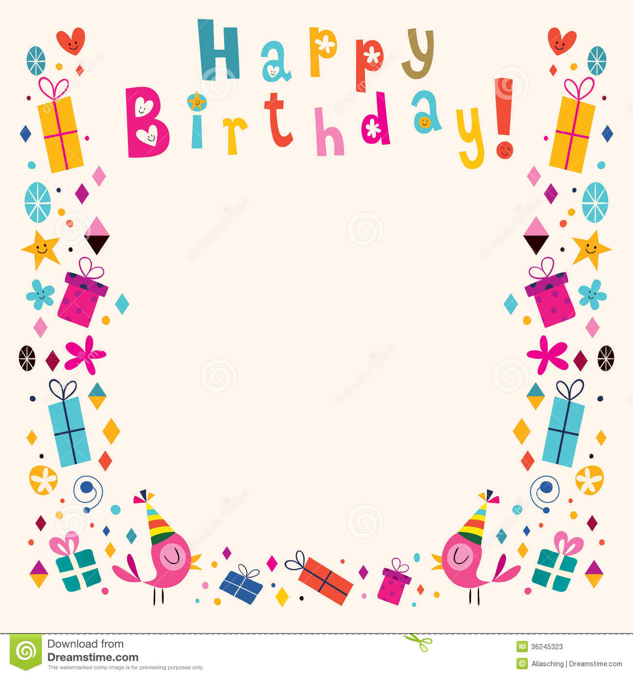 Happy Birthday Border Retro Card Stock Photos Image 36245323