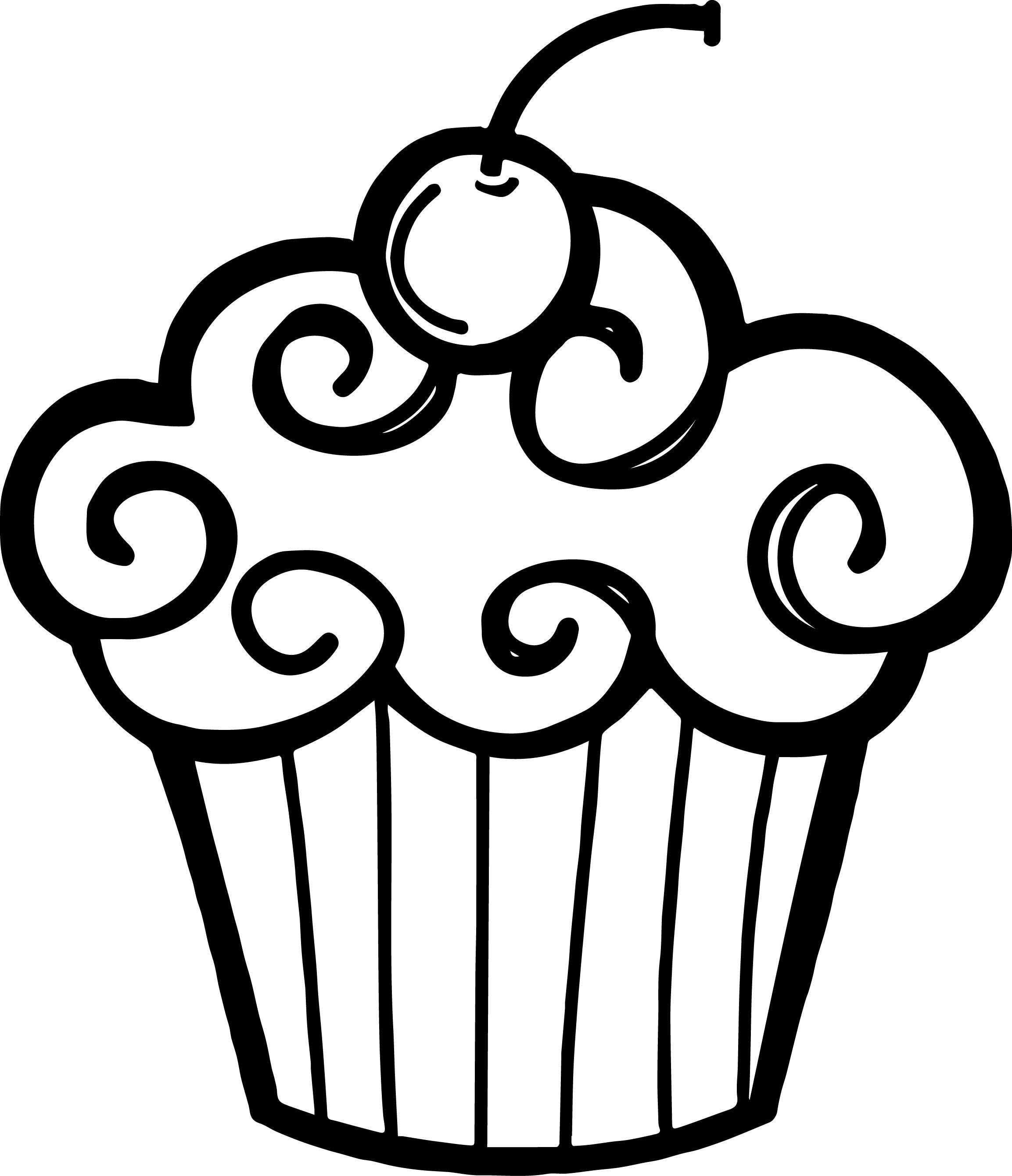 Happy Birthday Cupcake Clip . - Cupcake Clipart Black And White