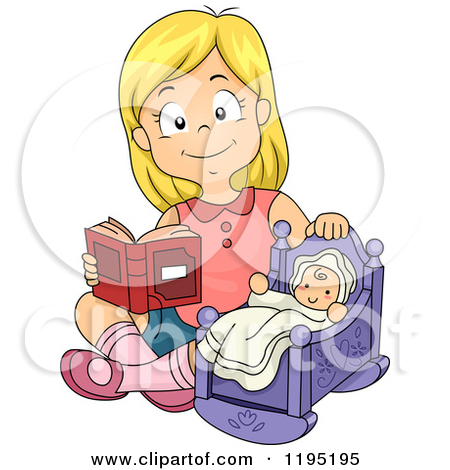 Happy Blond Girl Reading To A Baby Doll by BNP Design Studio