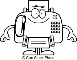 ... Happy Cartoon Fax Machine - A cartoon illustration of a fax.