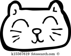 happy cat face cartoon