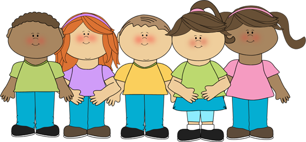Happy Children Clip Art Image - group of happy children lined up in a row.