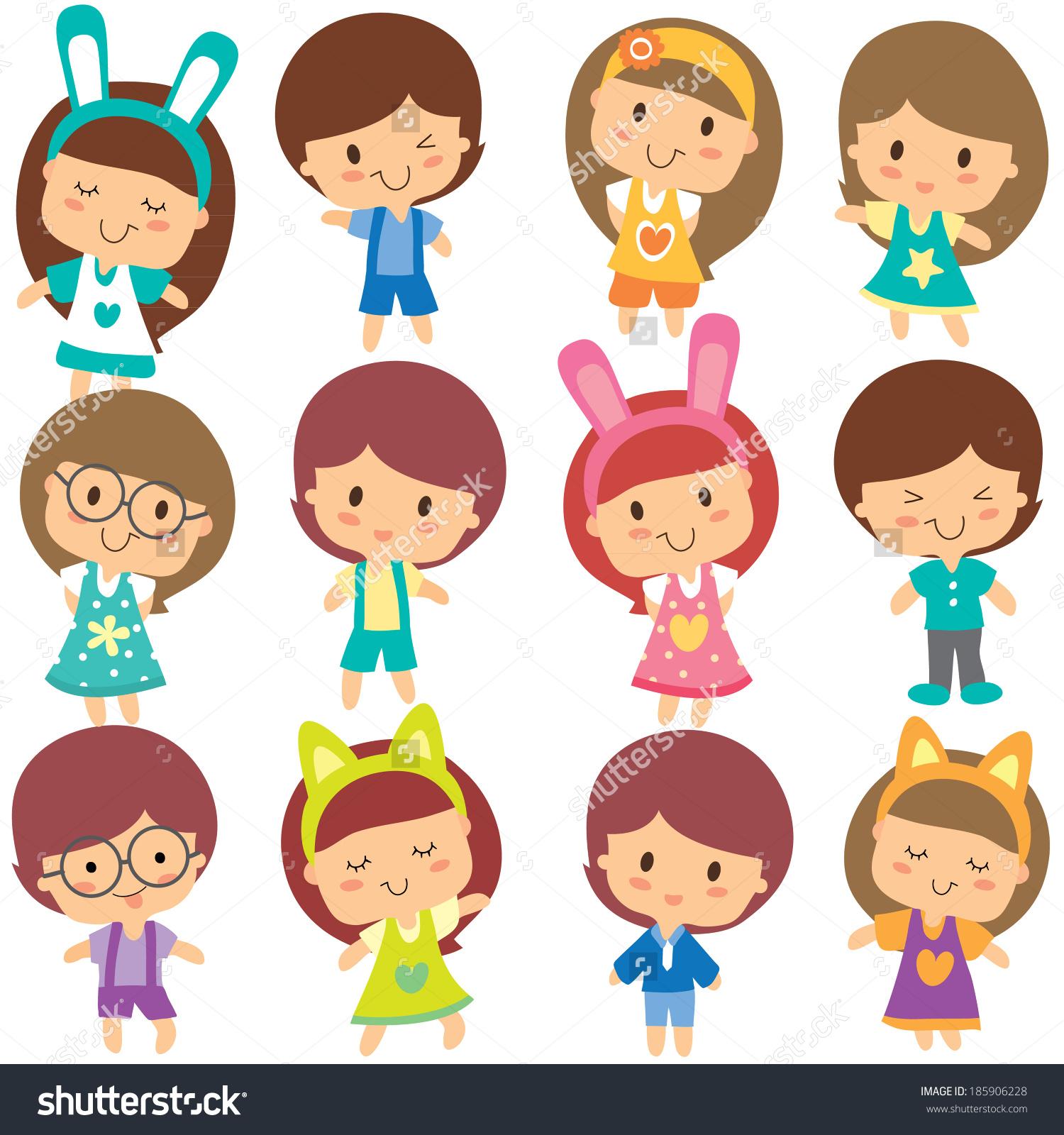 happy children clip art set - Happy Children Clipart