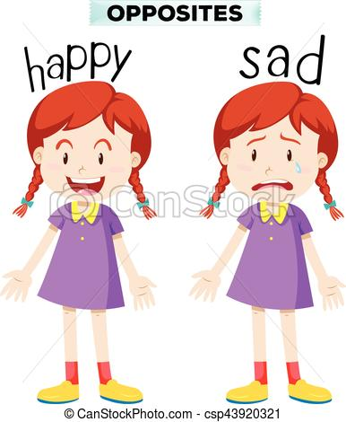 Opposite words with happy and - Happy Clipart