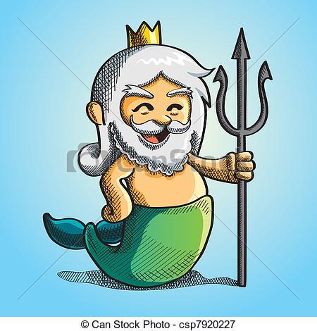 Happy Cute Poseidon - cartoon illustrati-Happy Cute Poseidon - cartoon illustration of cute poseidon-4